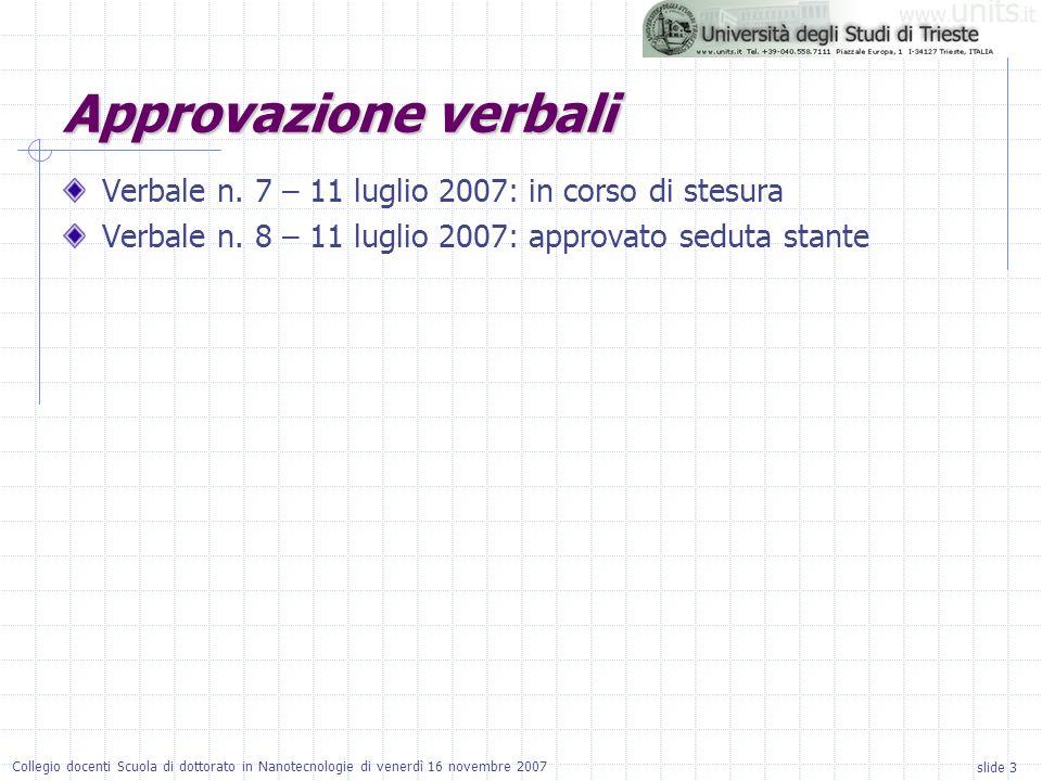 slide 3 Collegio docenti Scuola di dottorato in Nanotecnologie di venerdì 16 novembre 2007 Approvazione verbali Verbale n.