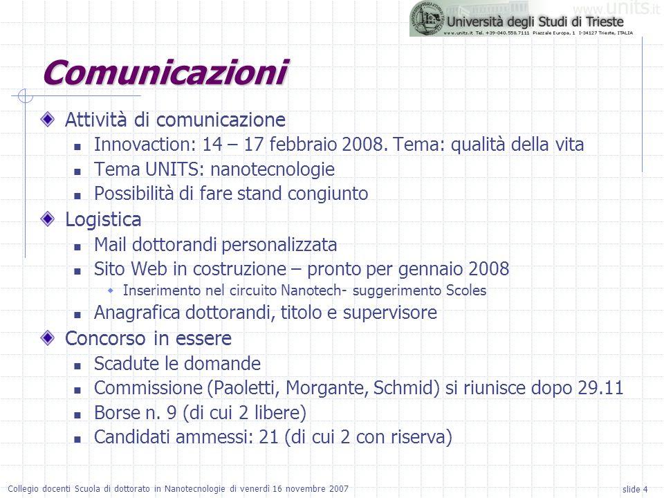 slide 4 Collegio docenti Scuola di dottorato in Nanotecnologie di venerdì 16 novembre 2007 Attività di comunicazione Innovaction: 14 – 17 febbraio 2008.