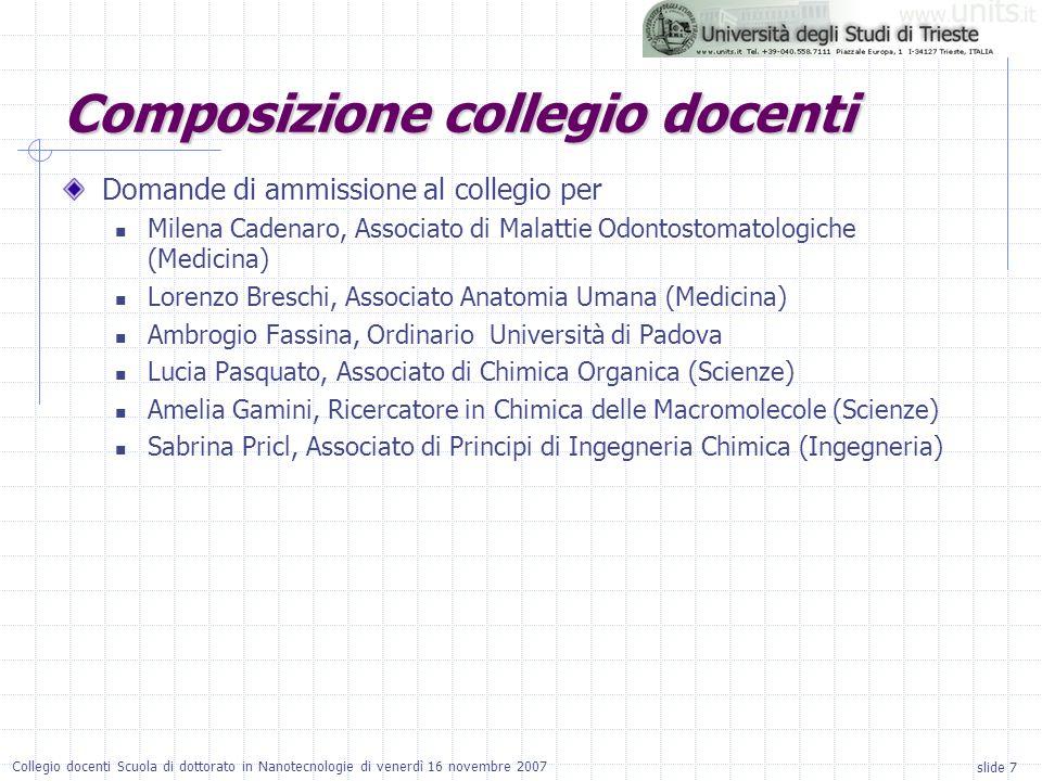 slide 7 Collegio docenti Scuola di dottorato in Nanotecnologie di venerdì 16 novembre 2007 Domande di ammissione al collegio per Milena Cadenaro, Associato di Malattie Odontostomatologiche (Medicina) Lorenzo Breschi, Associato Anatomia Umana (Medicina) Ambrogio Fassina, Ordinario Università di Padova Lucia Pasquato, Associato di Chimica Organica (Scienze) Amelia Gamini, Ricercatore in Chimica delle Macromolecole (Scienze) Sabrina Pricl, Associato di Principi di Ingegneria Chimica (Ingegneria) Composizione collegio docenti