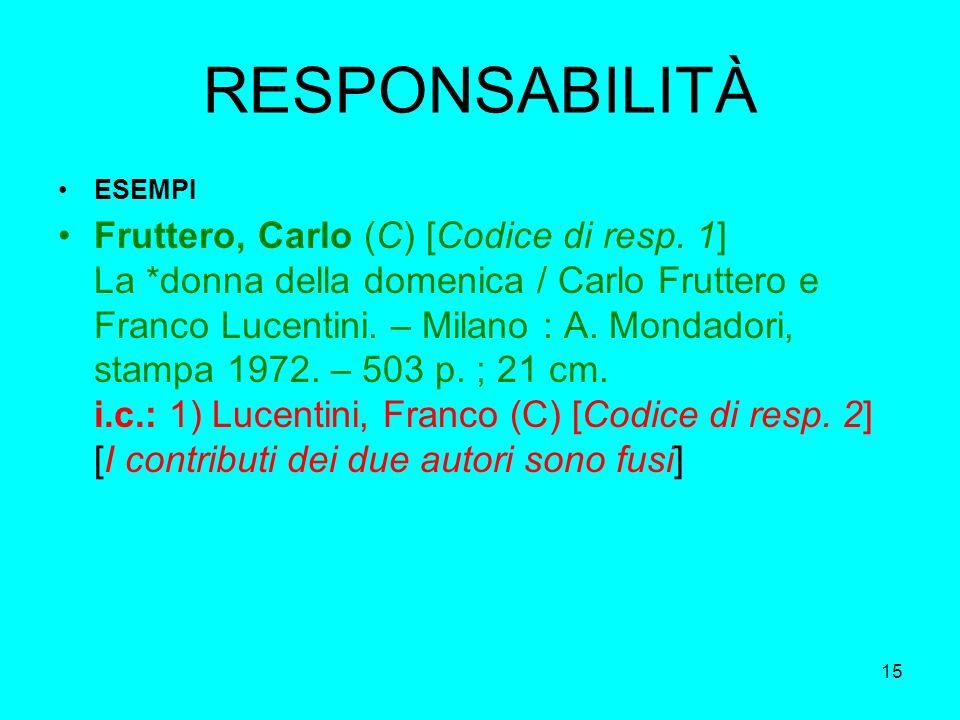 15 RESPONSABILITÀ ESEMPI Fruttero, Carlo (C) [Codice di resp. 1] La *donna della domenica / Carlo Fruttero e Franco Lucentini. – Milano : A. Mondadori