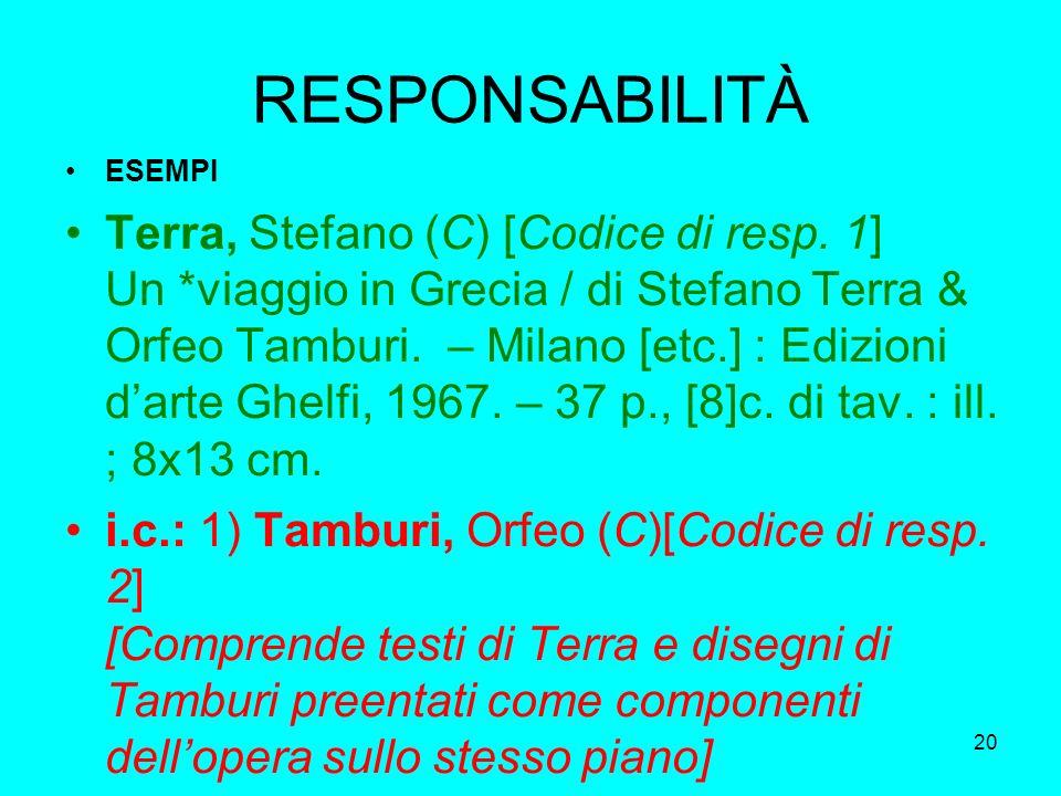 20 RESPONSABILITÀ ESEMPI Terra, Stefano (C) [Codice di resp. 1] Un *viaggio in Grecia / di Stefano Terra & Orfeo Tamburi. – Milano [etc.] : Edizioni d