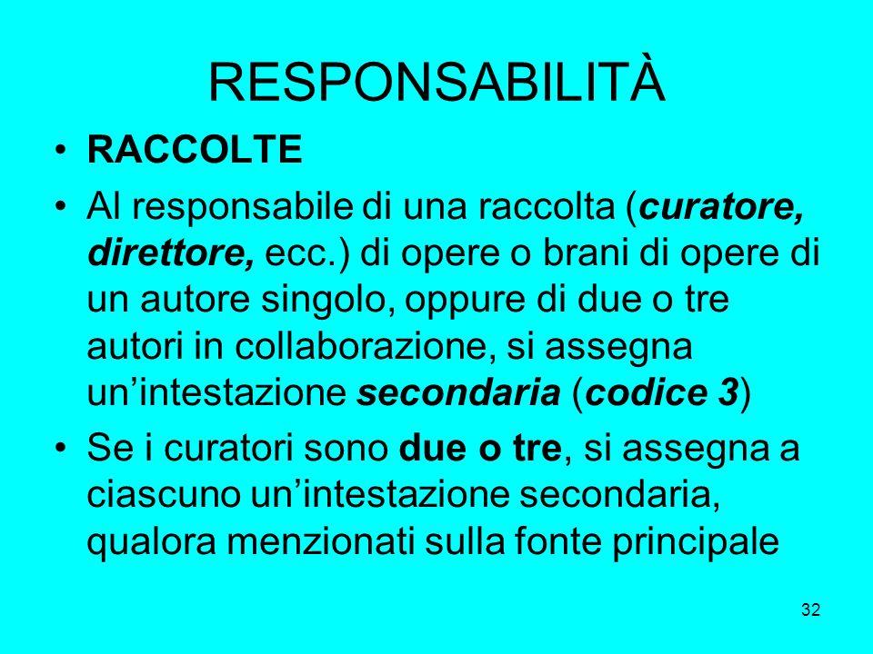 32 RESPONSABILITÀ RACCOLTE Al responsabile di una raccolta (curatore, direttore, ecc.) di opere o brani di opere di un autore singolo, oppure di due o