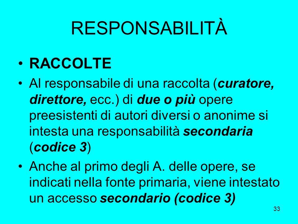 33 RESPONSABILITÀ RACCOLTE Al responsabile di una raccolta (curatore, direttore, ecc.) di due o più opere preesistenti di autori diversi o anonime si