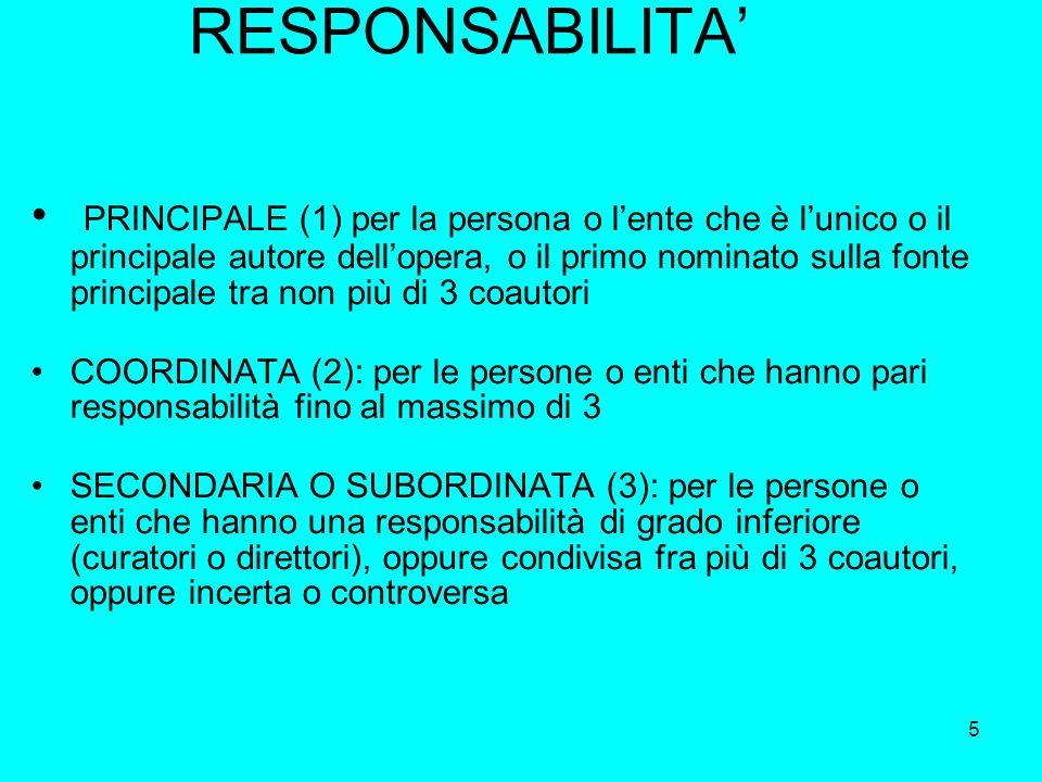5 RESPONSABILITA PRINCIPALE (1) per la persona o lente che è lunico o il principale autore dellopera, o il primo nominato sulla fonte principale tra n