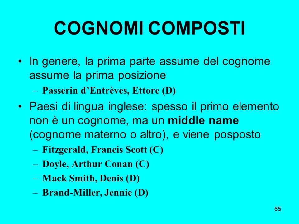 65 COGNOMI COMPOSTI In genere, la prima parte assume del cognome assume la prima posizione –Passerin dEntrèves, Ettore (D) Paesi di lingua inglese: sp