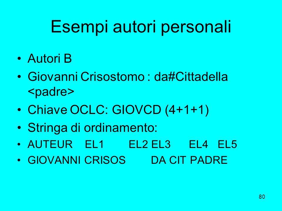 80 Esempi autori personali Autori B Giovanni Crisostomo : da#Cittadella Chiave OCLC: GIOVCD (4+1+1) Stringa di ordinamento: AUTEUR EL1 EL2 EL3 EL4 EL5
