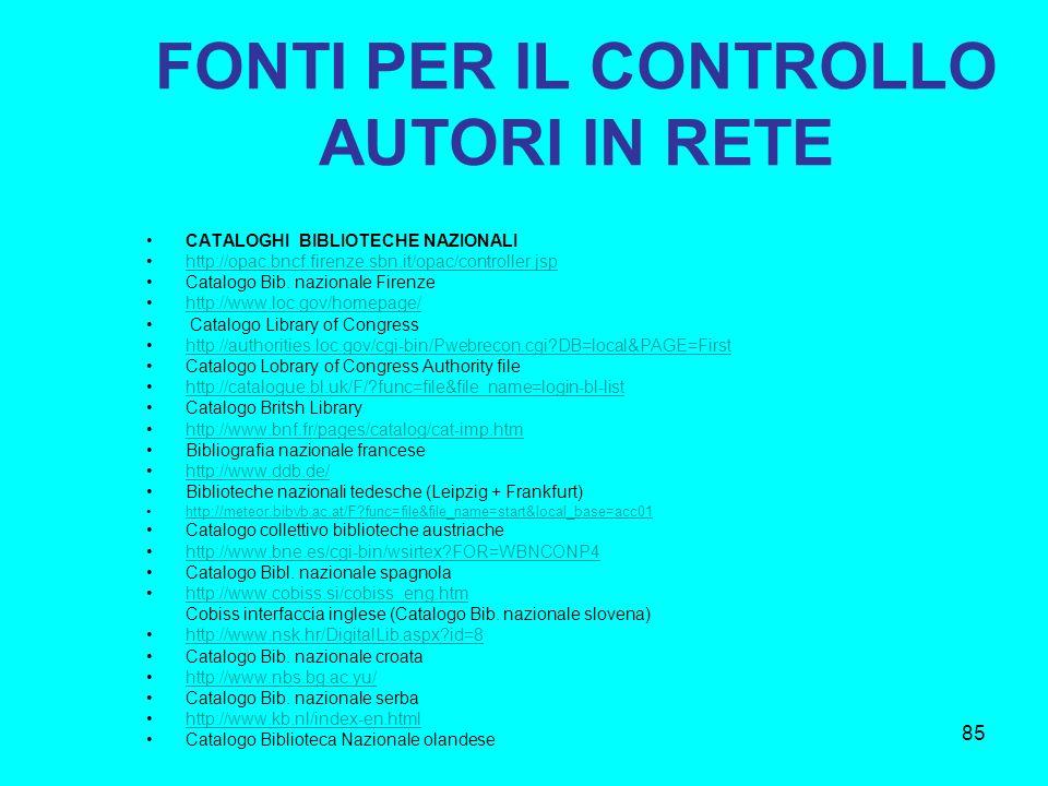 85 FONTI PER IL CONTROLLO AUTORI IN RETE CATALOGHI BIBLIOTECHE NAZIONALI http://opac.bncf.firenze.sbn.it/opac/controller.jsp Catalogo Bib. nazionale F