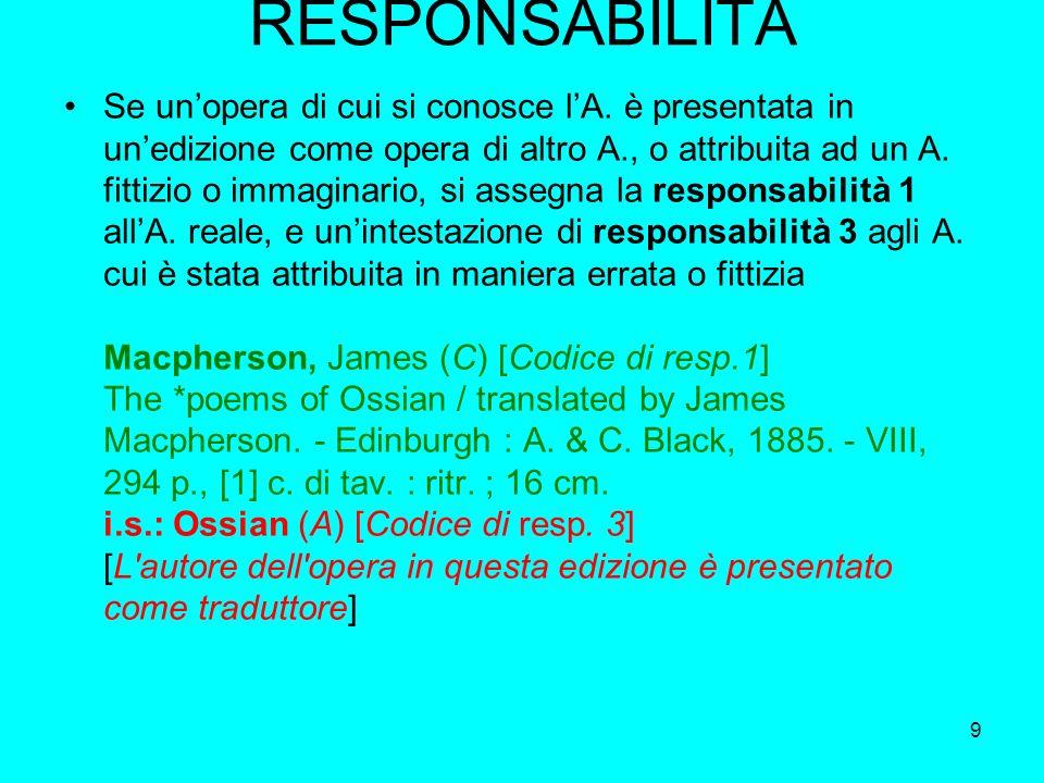 9 RESPONSABILITÀ Se unopera di cui si conosce lA. è presentata in unedizione come opera di altro A., o attribuita ad un A. fittizio o immaginario, si