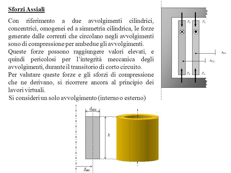 Sforzi Assiali Con riferimento a due avvolgimenti cilindrici, concentrici, omogenei ed a simmetria cilindrica, le forze generate dalle correnti che ci
