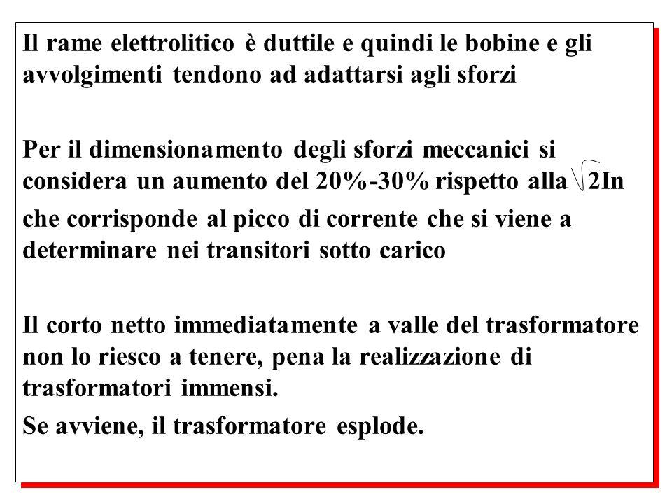 Il rame elettrolitico è duttile e quindi le bobine e gli avvolgimenti tendono ad adattarsi agli sforzi Per il dimensionamento degli sforzi meccanici s