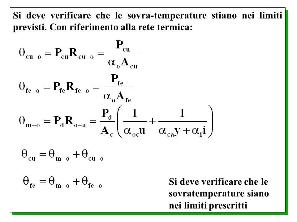 Si deve verificare che le sovra-temperature stiano nei limiti previsti. Con riferimento alla rete termica: Si deve verificare che le sovratemperature