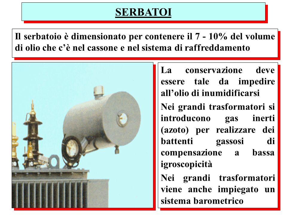 SERBATOI Il serbatoio è dimensionato per contenere il 7 - 10% del volume di olio che cè nel cassone e nel sistema di raffreddamento La conservazione d