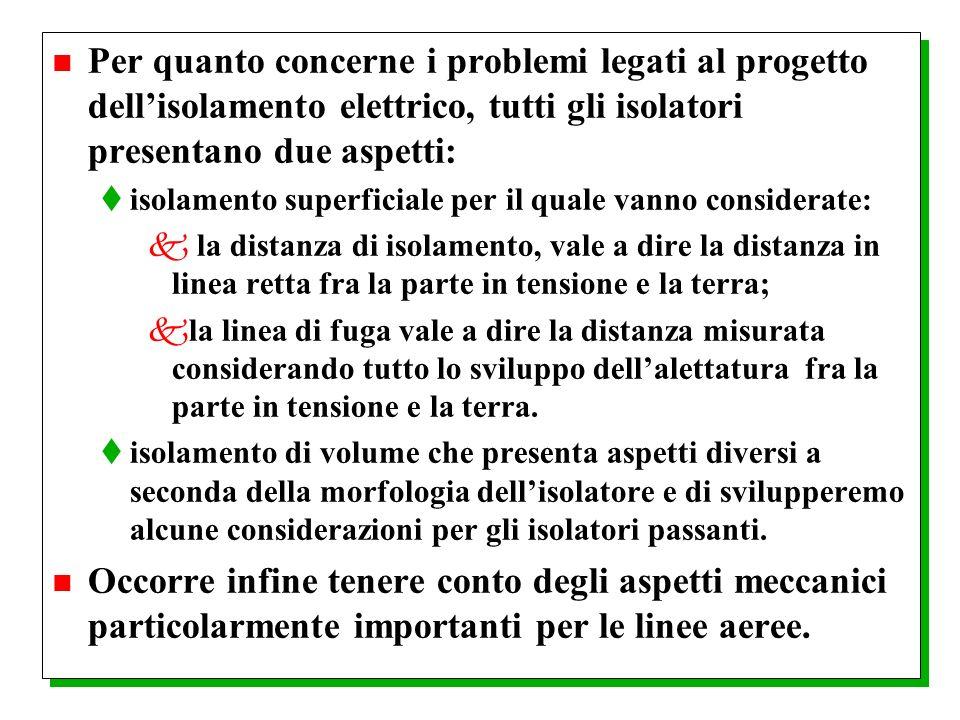 n Per quanto concerne i problemi legati al progetto dellisolamento elettrico, tutti gli isolatori presentano due aspetti: tisolamento superficiale per
