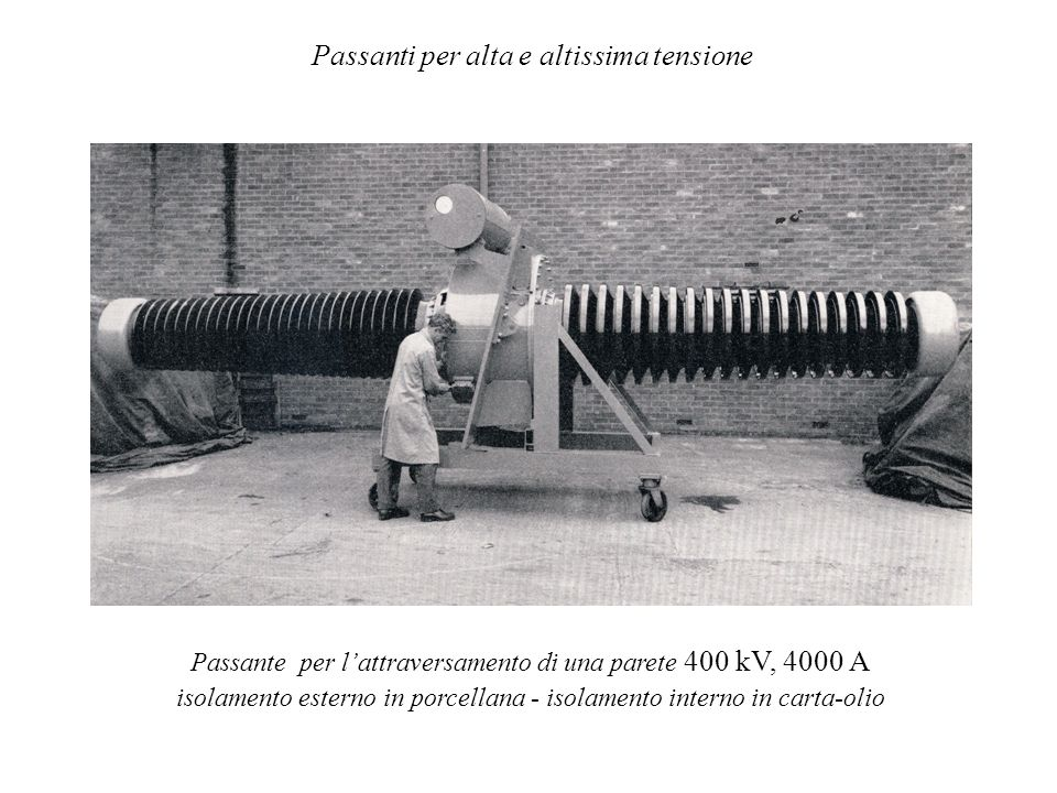 Passanti per alta e altissima tensione Passante per lattraversamento di una parete 400 kV, 4000 A isolamento esterno in porcellana - isolamento intern