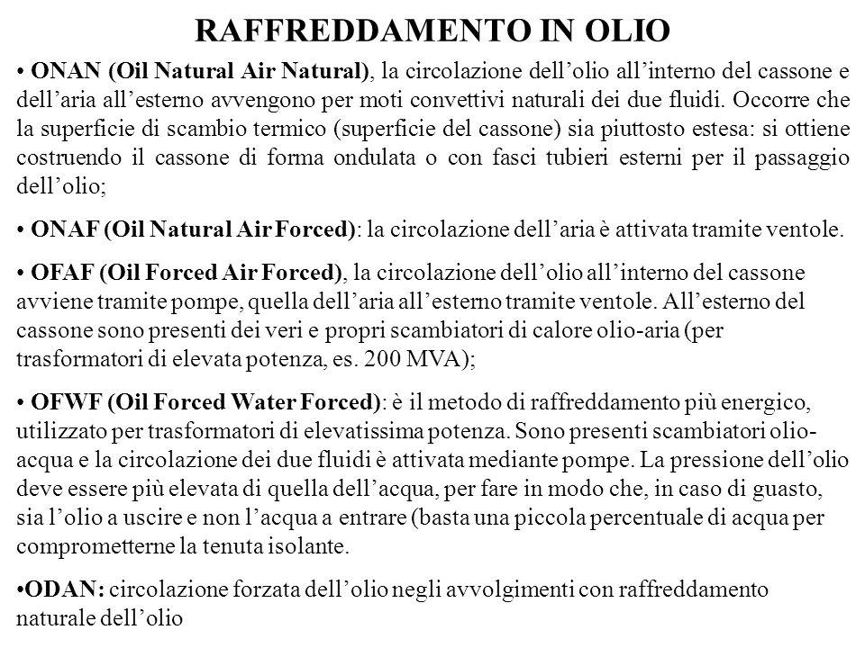 RAFFREDDAMENTO IN OLIO ONAN (Oil Natural Air Natural), la circolazione dellolio allinterno del cassone e dellaria allesterno avvengono per moti convet