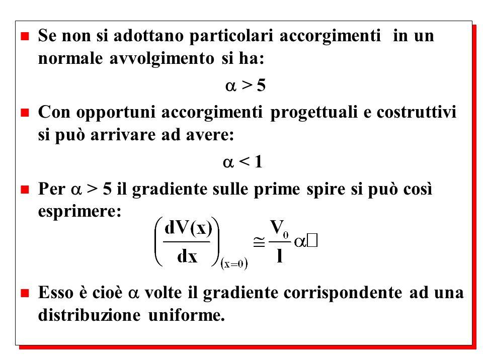 n Se non si adottano particolari accorgimenti in un normale avvolgimento si ha: > 5 n Con opportuni accorgimenti progettuali e costruttivi si può arri