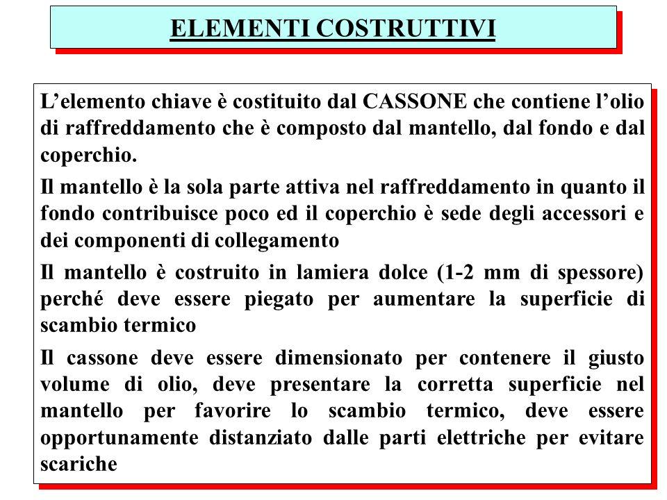 ELEMENTI COSTRUTTIVI Lelemento chiave è costituito dal CASSONE che contiene lolio di raffreddamento che è composto dal mantello, dal fondo e dal coper