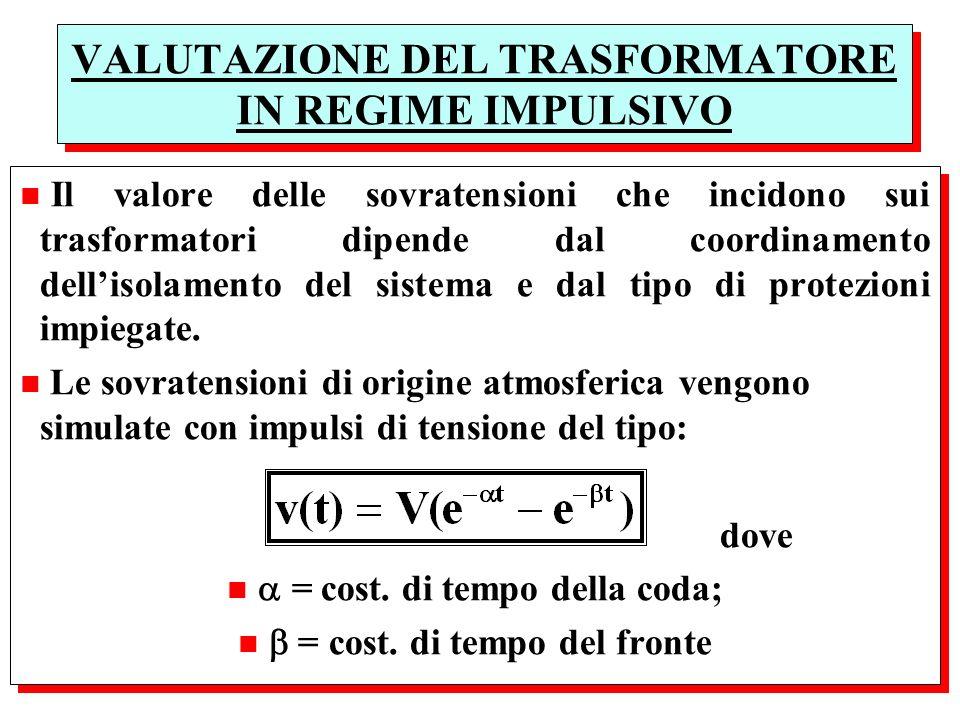 VALUTAZIONE DEL TRASFORMATORE IN REGIME IMPULSIVO n Il valore delle sovratensioni che incidono sui trasformatori dipende dal coordinamento dellisolame