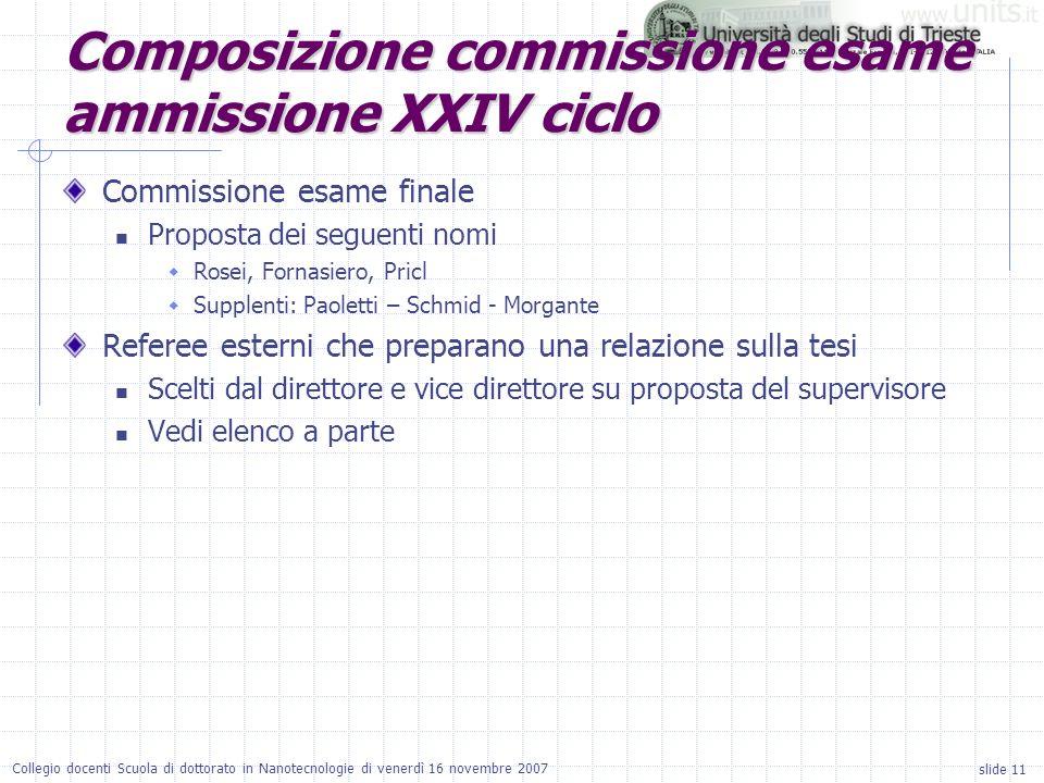 slide 11 Collegio docenti Scuola di dottorato in Nanotecnologie di venerdì 16 novembre 2007 Commissione esame finale Proposta dei seguenti nomi Rosei,