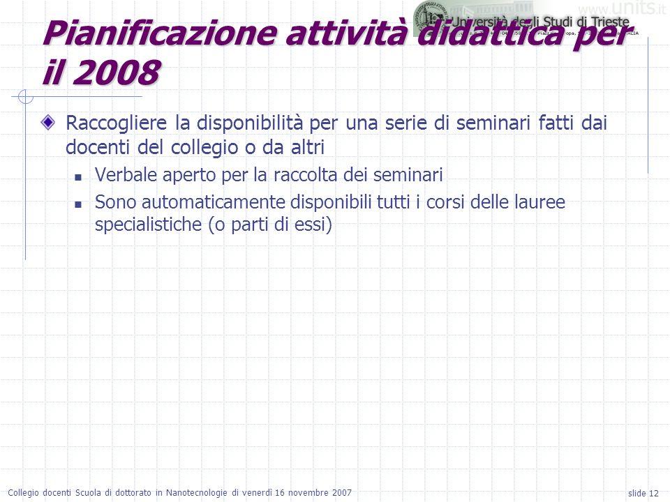 slide 12 Collegio docenti Scuola di dottorato in Nanotecnologie di venerdì 16 novembre 2007 Pianificazione attività didattica per il 2008 Raccogliere