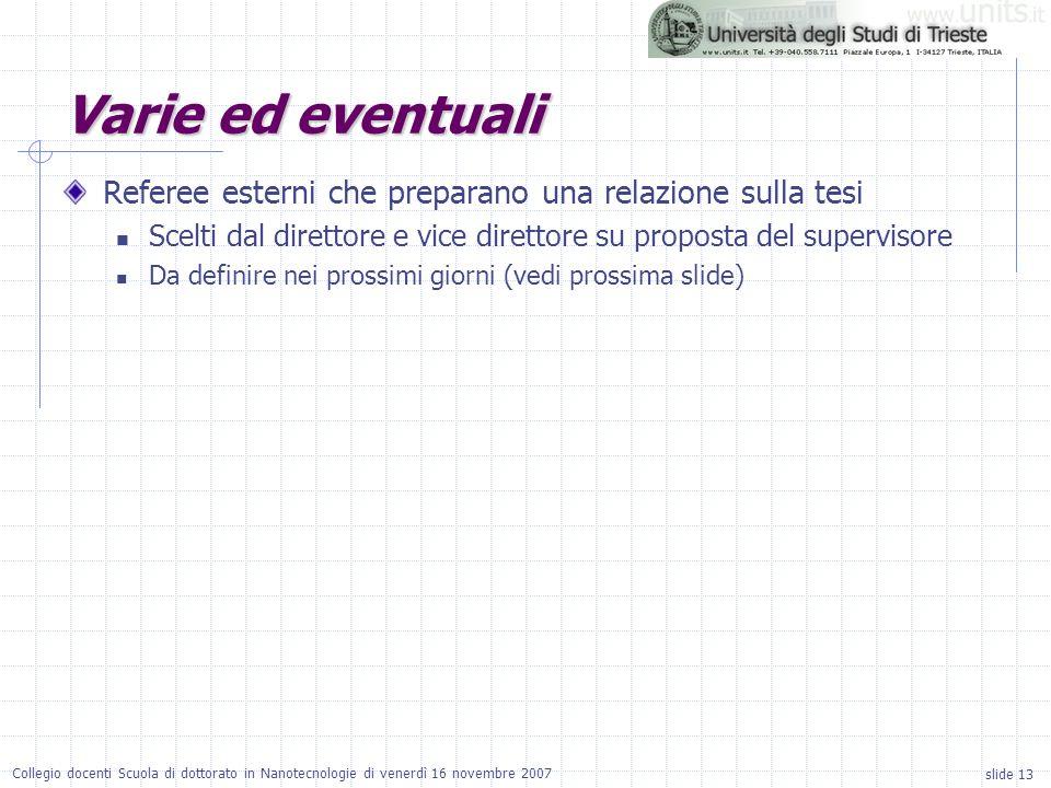 slide 13 Collegio docenti Scuola di dottorato in Nanotecnologie di venerdì 16 novembre 2007 Varie ed eventuali Referee esterni che preparano una relaz
