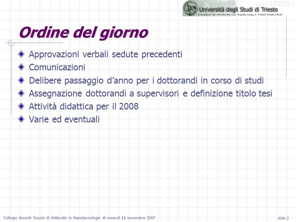 slide 2 Collegio docenti Scuola di dottorato in Nanotecnologie di venerdì 16 novembre 2007 Ordine del giorno Approvazioni verbali sedute precedenti Co
