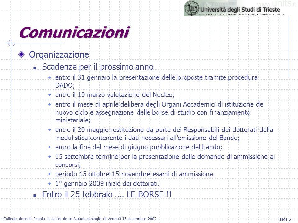 slide 6 Collegio docenti Scuola di dottorato in Nanotecnologie di venerdì 16 novembre 2007 Organizzazione Scadenze per il prossimo anno entro il 31 ge