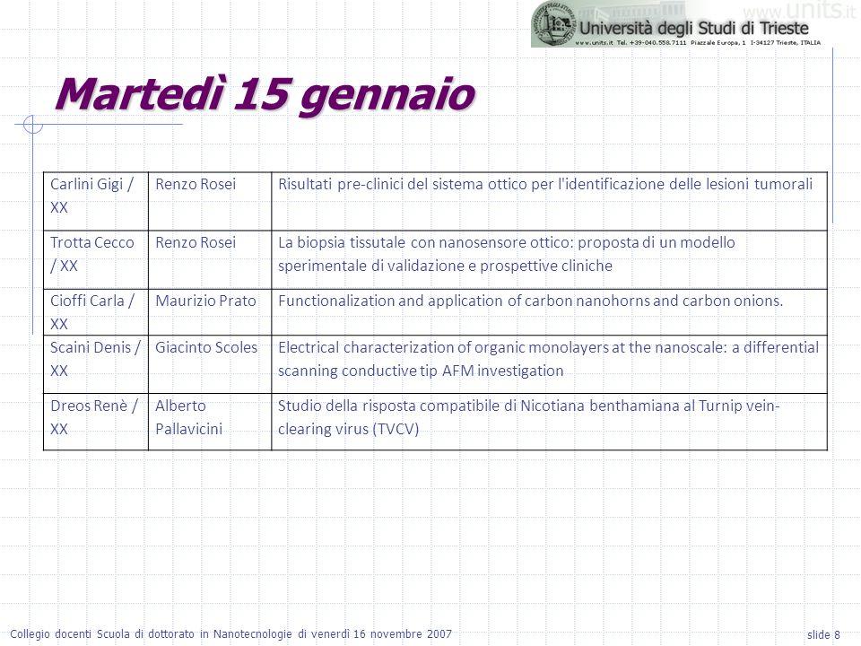 slide 8 Collegio docenti Scuola di dottorato in Nanotecnologie di venerdì 16 novembre 2007 Carlini Gigi / XX Renzo RoseiRisultati pre-clinici del sist