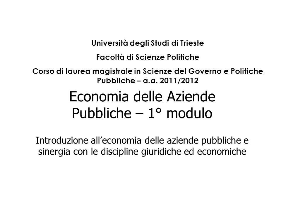 Economia delle Aziende Pubbliche – 1° modulo Introduzione alleconomia delle aziende pubbliche e sinergia con le discipline giuridiche ed economiche Un