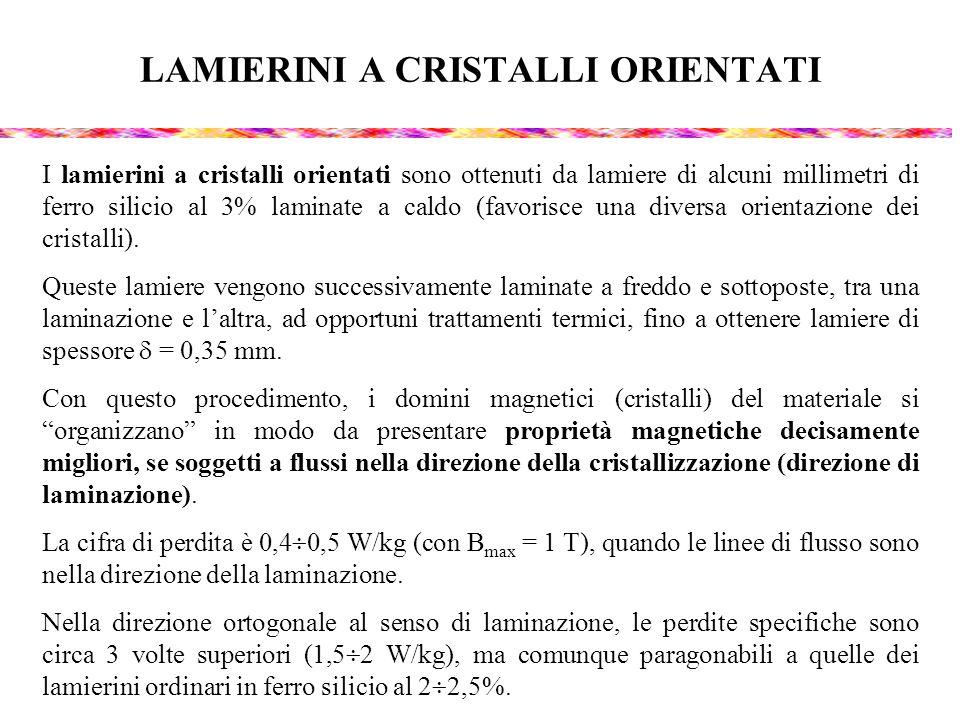 LAMIERINI A CRISTALLI ORIENTATI I lamierini a cristalli orientati sono ottenuti da lamiere di alcuni millimetri di ferro silicio al 3% laminate a cald