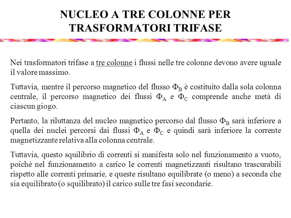 NUCLEO A TRE COLONNE PER TRASFORMATORI TRIFASE Nei trasformatori trifase a tre colonne i flussi nelle tre colonne devono avere uguale il valore massim