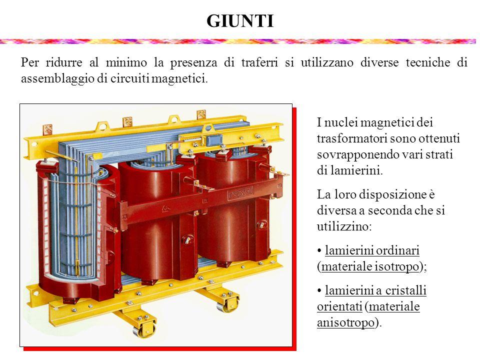 GIUNTI I nuclei magnetici dei trasformatori sono ottenuti sovrapponendo vari strati di lamierini. La loro disposizione è diversa a seconda che si util