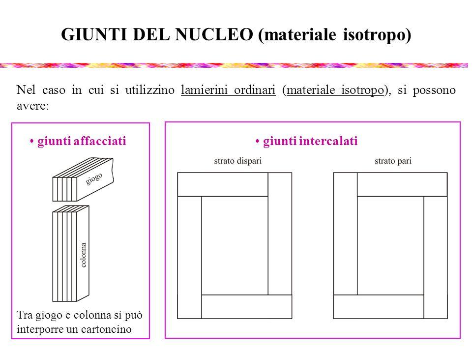 GIUNTI DEL NUCLEO (materiale isotropo) Nel caso in cui si utilizzino lamierini ordinari (materiale isotropo), si possono avere: giunti affacciati giun