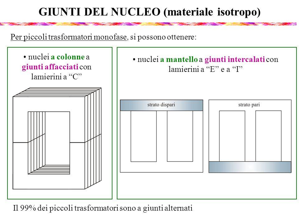GIUNTI DEL NUCLEO (materiale isotropo) Per piccoli trasformatori monofase, si possono ottenere: nuclei a mantello a giunti intercalati con lamierini a