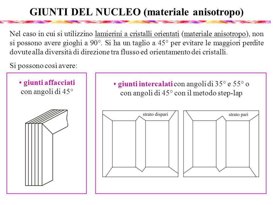 GIUNTI DEL NUCLEO (materiale anisotropo) Nel caso in cui si utilizzino lamierini a cristalli orientati (materiale anisotropo), non si possono avere gi