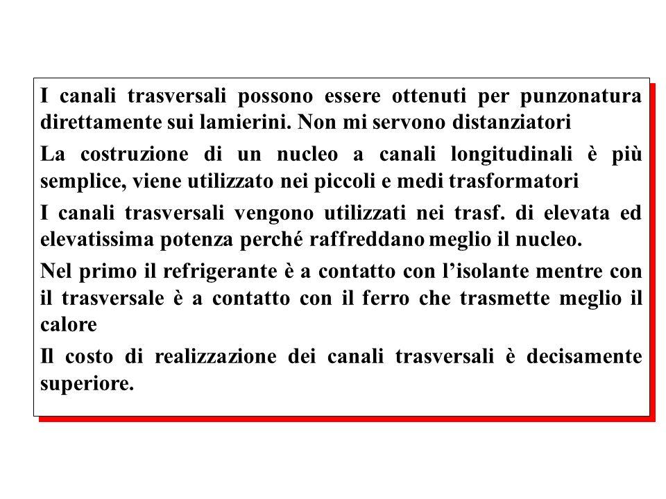 I canali trasversali possono essere ottenuti per punzonatura direttamente sui lamierini. Non mi servono distanziatori La costruzione di un nucleo a ca