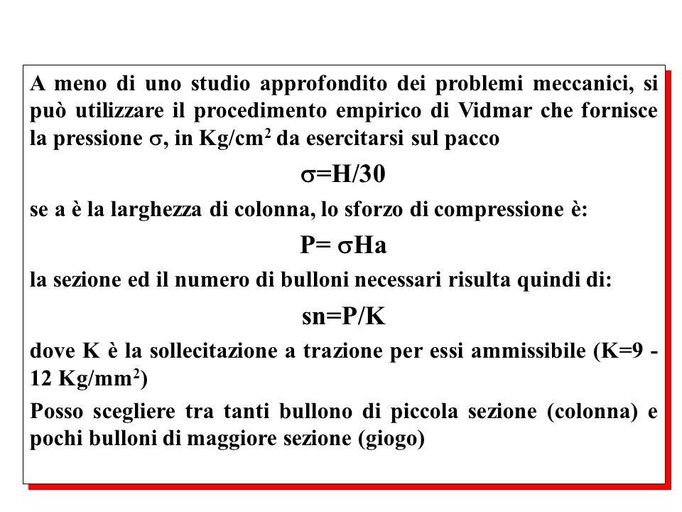 A meno di uno studio approfondito dei problemi meccanici, si può utilizzare il procedimento empirico di Vidmar che fornisce la pressione, in Kg/cm 2 d