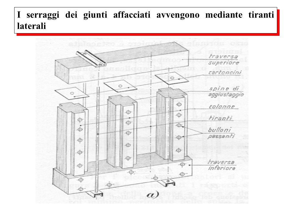 I serraggi dei giunti affacciati avvengono mediante tiranti laterali