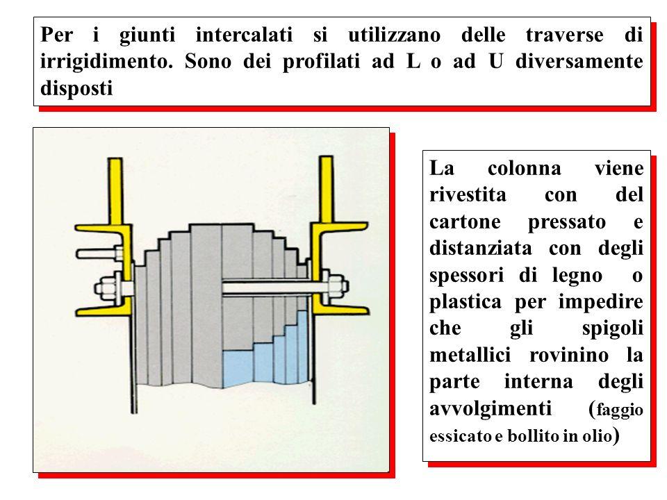 Per i giunti intercalati si utilizzano delle traverse di irrigidimento. Sono dei profilati ad L o ad U diversamente disposti La colonna viene rivestit