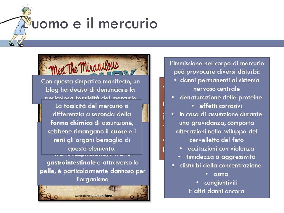 Luomo e il mercurio Venite a conoscere il miracolo: il Baby mercurio!! Tenero e contaminato! Alto rischio di ritardo mentale e perdita permanente di Q