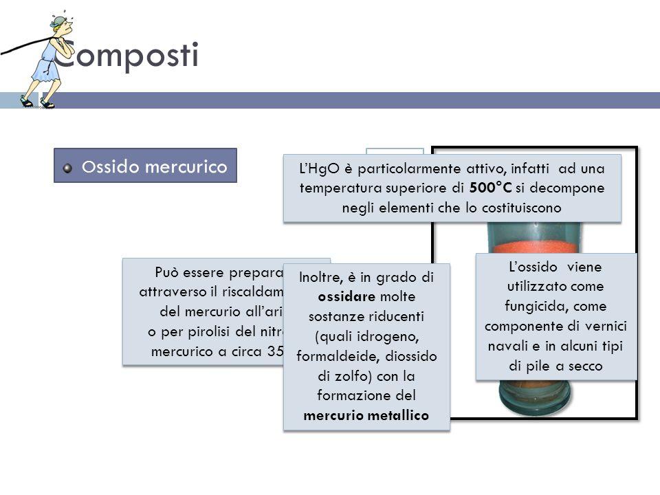 Composti O ssido mercurico Può essere preparato attraverso il riscaldamento del mercurio allaria o per pirolisi del nitrato mercurico a circa 350° Può