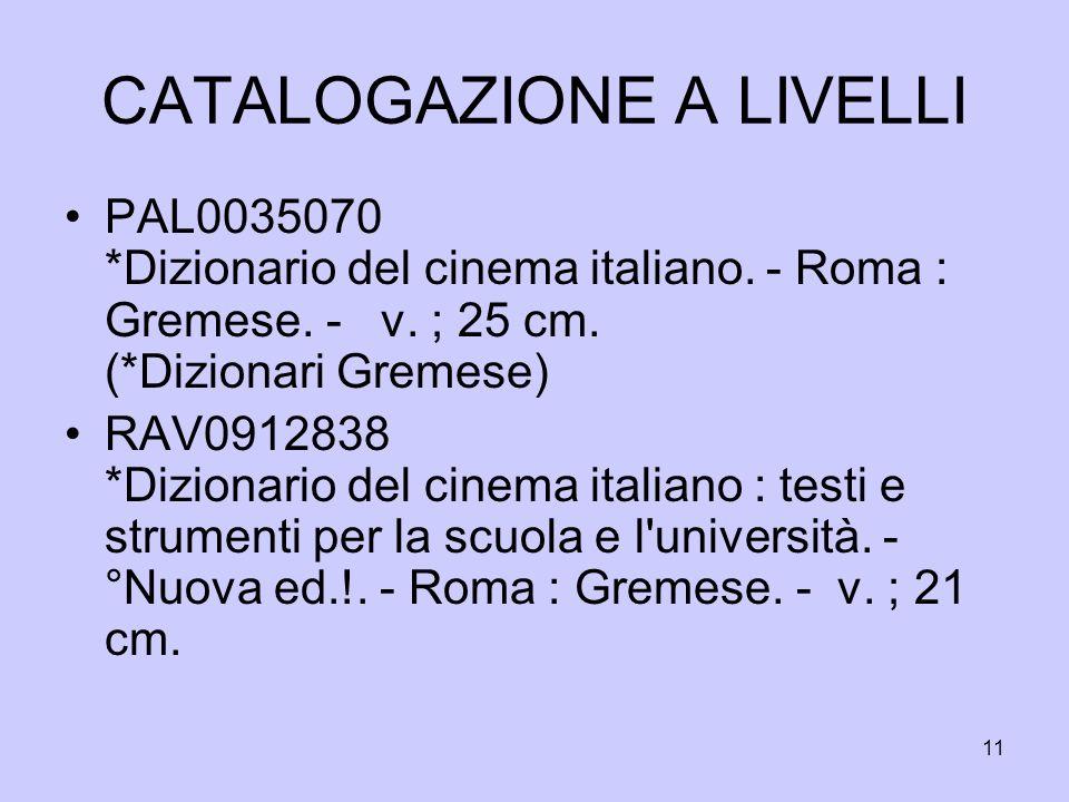 11 CATALOGAZIONE A LIVELLI PAL0035070 *Dizionario del cinema italiano. - Roma : Gremese. - v. ; 25 cm. (*Dizionari Gremese) RAV0912838 *Dizionario del