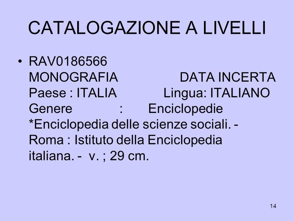 14 CATALOGAZIONE A LIVELLI RAV0186566 MONOGRAFIA DATA INCERTA Paese : ITALIA Lingua: ITALIANO Genere : Enciclopedie *Enciclopedia delle scienze social