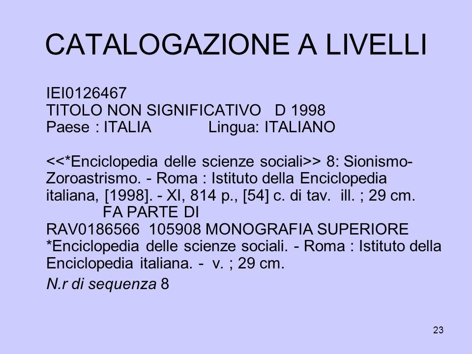 23 CATALOGAZIONE A LIVELLI IEI0126467 TITOLO NON SIGNIFICATIVO D 1998 Paese : ITALIA Lingua: ITALIANO > 8: Sionismo- Zoroastrismo. - Roma : Istituto d