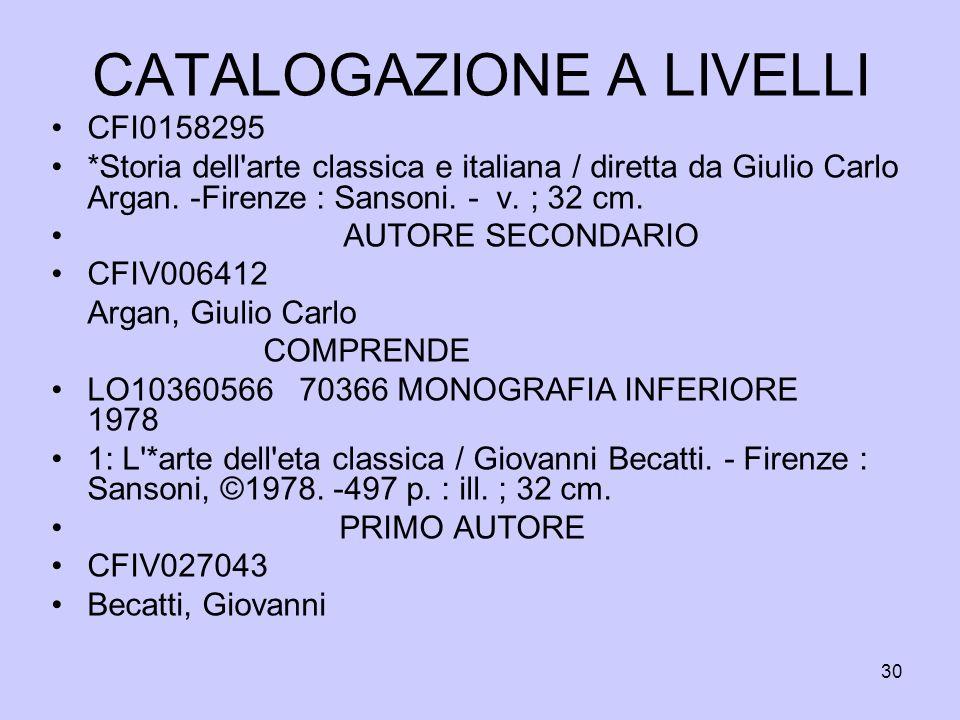 30 CATALOGAZIONE A LIVELLI CFI0158295 *Storia dell'arte classica e italiana / diretta da Giulio Carlo Argan. -Firenze : Sansoni. - v. ; 32 cm. AUTORE