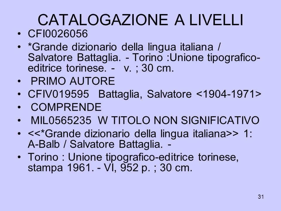 31 CATALOGAZIONE A LIVELLI CFI0026056 *Grande dizionario della lingua italiana / Salvatore Battaglia. - Torino :Unione tipografico- editrice torinese.