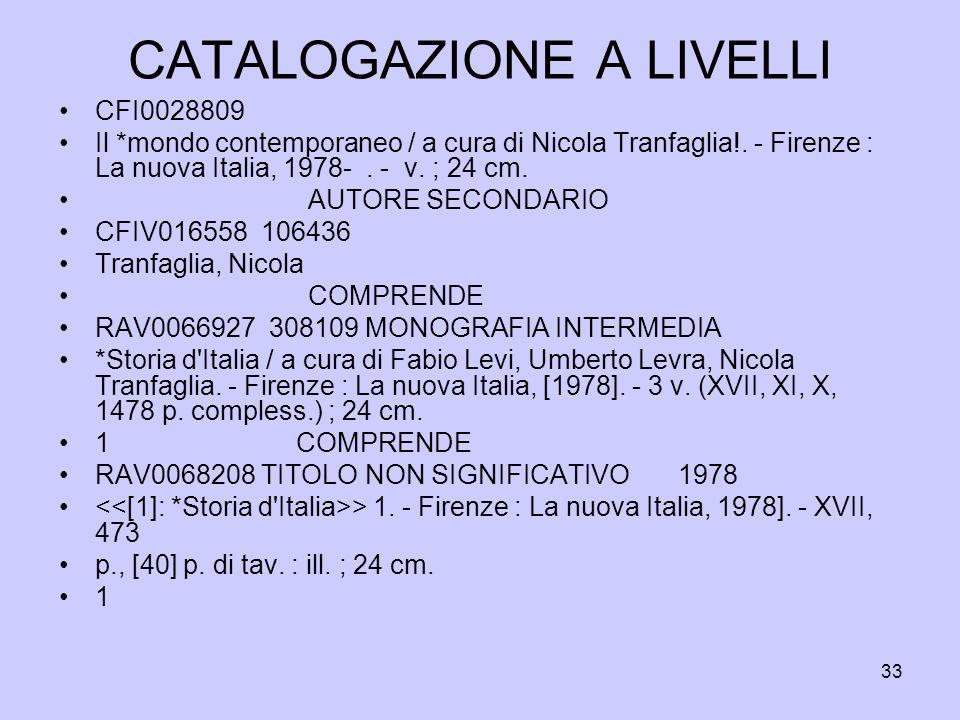 33 CATALOGAZIONE A LIVELLI CFI0028809 Il *mondo contemporaneo / a cura di Nicola Tranfaglia!. - Firenze : La nuova Italia, 1978-. - v. ; 24 cm. AUTORE