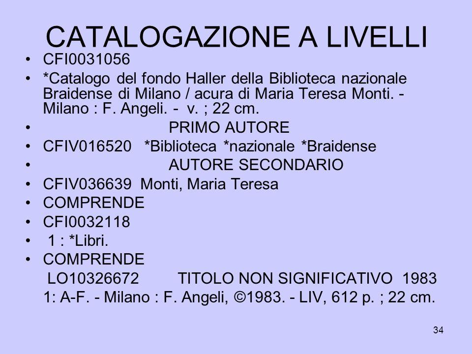 34 CATALOGAZIONE A LIVELLI CFI0031056 *Catalogo del fondo Haller della Biblioteca nazionale Braidense di Milano / acura di Maria Teresa Monti. - Milan
