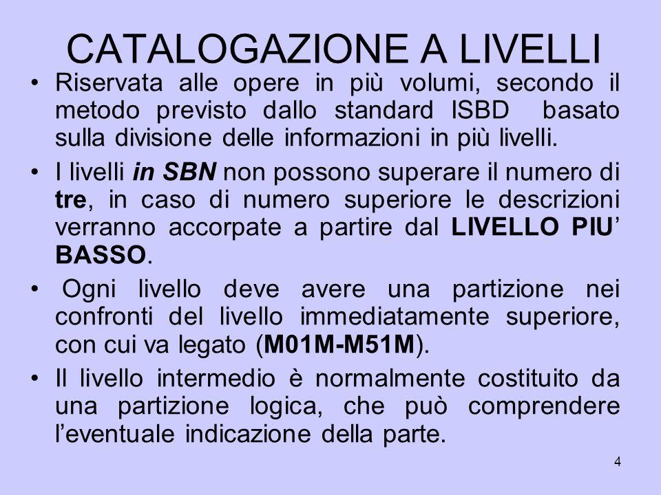 45 CATALOGAZIONE A LIVELLI AGGIUNTA SUCCESSIVA DI ALTRI VOLUMI A 1.