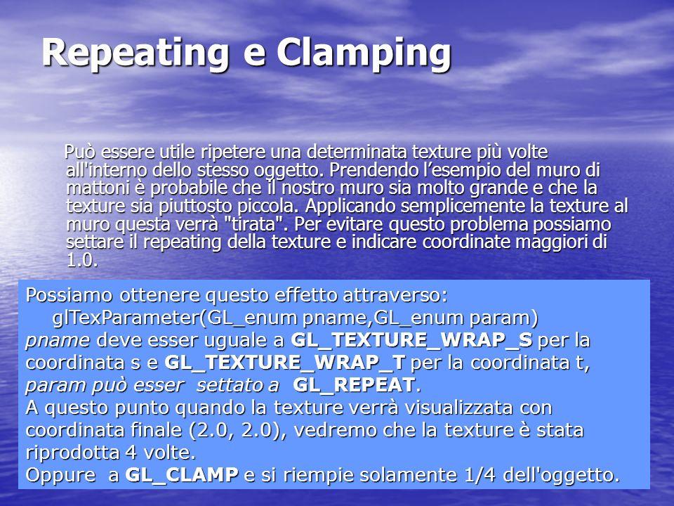 Repeating e Clamping Può essere utile ripetere una determinata texture più volte all'interno dello stesso oggetto. Prendendo lesempio del muro di matt